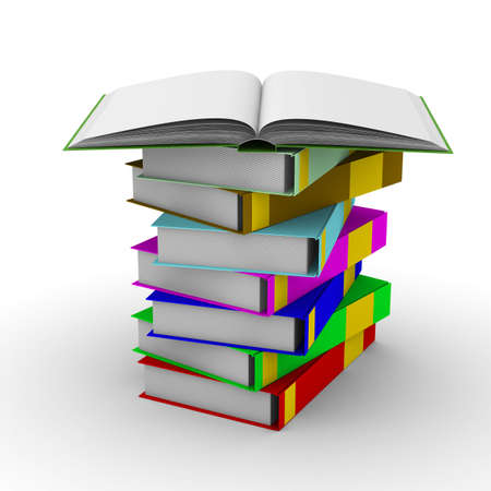 pile of books on white background. Isolated 3D image Stock Photo - 5392804