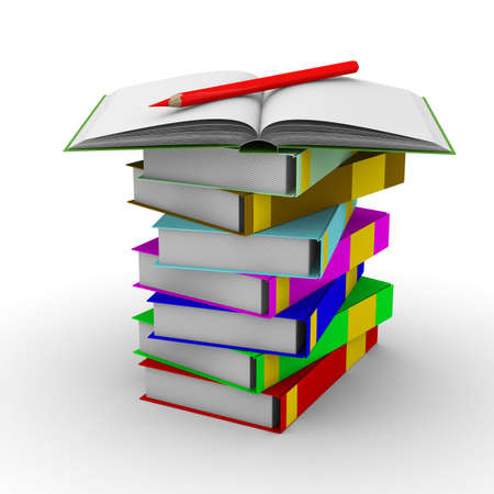 pile of books on white background. Isolated 3D image Stock Photo - 5392808