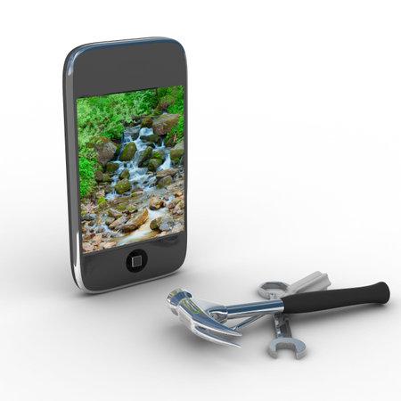 repairing: La reparaci�n del tel�fono. Servicio t�cnico. Imagen en 3D Isolado Editorial