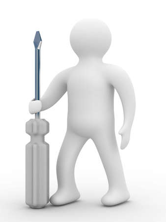 machinist: repairman with the tool on a white background. 3D image