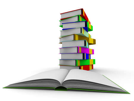 pile of books on white background. Isolated 3D image photo