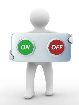 shutoff: person holds the buttons. Isolated 3D image Stock Photo