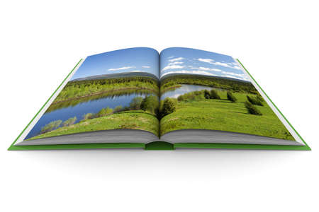 scientific literature: Opening book on white background. 3D image Stock Photo