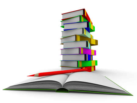 pile of books on white background. Isolated 3D image Stock Photo - 5424490