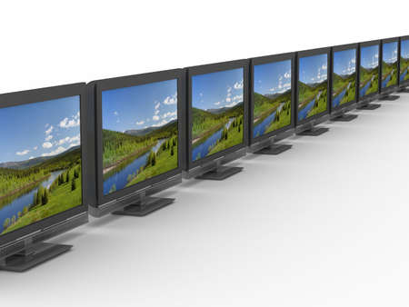 Row TV on white background. Isolated 3D image photo