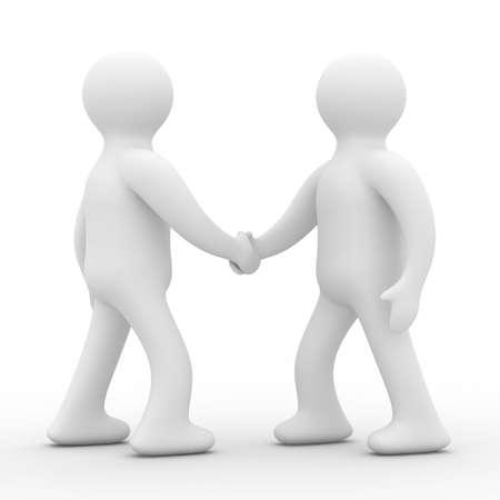 personas saludandose: Apret�n de manos. Reuni�n de dos empresarios. Imagen en 3D Isolado Foto de archivo