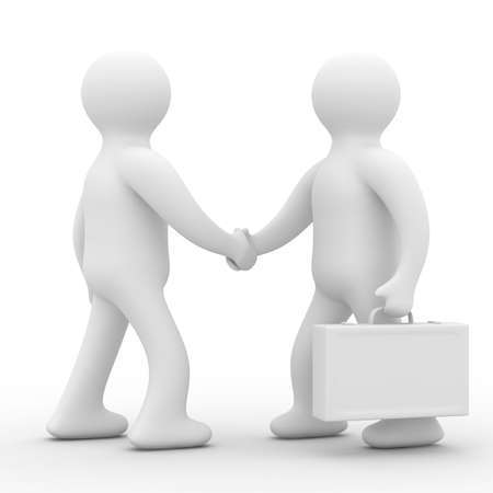 handclasp: Handshake. Meeting two businessmen. Isolated 3D image