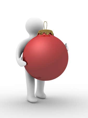 christmasball: Christmas decoration on white background. Isolated 3D image Stock Photo