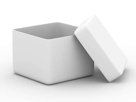 lids: Open box on white background. Isolated 3D image Stock Photo