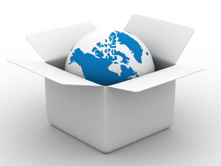 carton: Open box with globe on white background. Isolated 3D image Stock Photo
