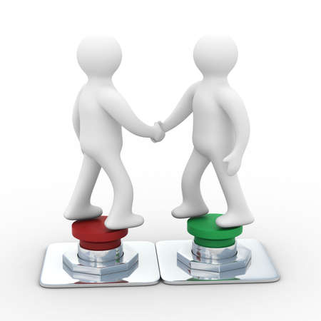 hands off: Handshake. Meeting two businessmen. Isolated 3D image