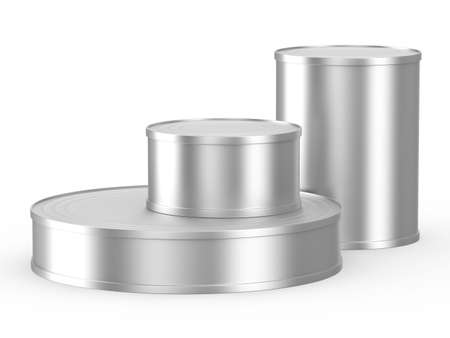 Three cans on white background. Isolated 3D image photo