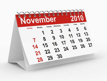 november 3d: 2010 year calendar. November. Isolated 3D image.