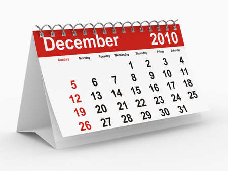 december kalender: 2010 jaar kalender. December. Geïsoleerde 3D-beeld.