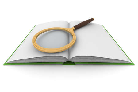 scrutiny: open book and magnifying glass on white background. Isolated 3D image Stock Photo