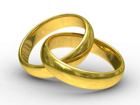 anillos de boda: Dos anillos de bodas de oro. Imagen en 3D Isolado