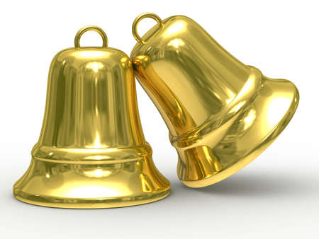 ding: Two gold hand bell on white background. Isolated 3D image.
