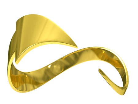 closed gold arrow on white background. Isolated 3D image