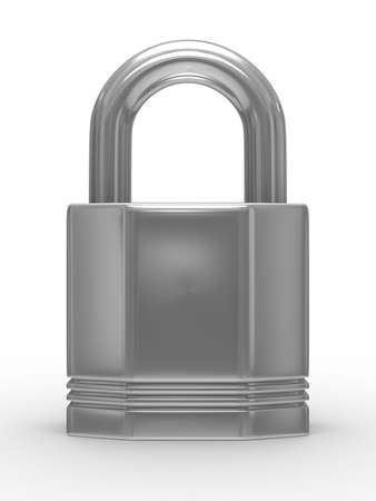steel closed lock on white background. Isolated 3D image photo