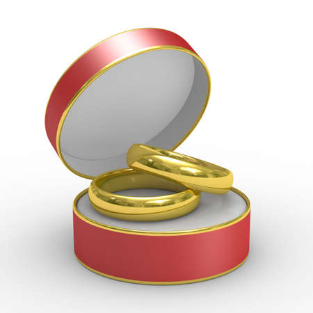 Red box with two wedding rings. Isolated 3D image photo