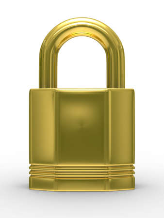 Gold closed lock on white background. Isolated 3D image Stock Photo - 5680507