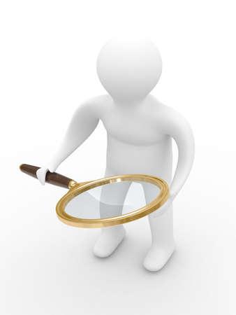 schoolkid search: El hombre con lente de aumento sobre fondo blanco. Imagen en 3D Isolado