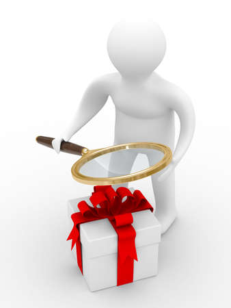 Search of gifts. Isolated 3D image. White background photo