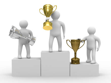 winners with cups on white background. Isolated 3D image photo