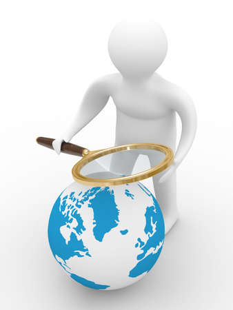 optical people person planet: Global search. Isolated 3D image on white
