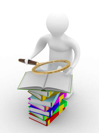 schoolkid search: man reads books. Isolated 3D image on white Stock Photo