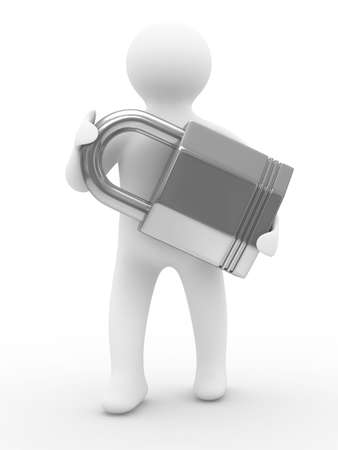security man: protection concept. Isolated 3D image on white