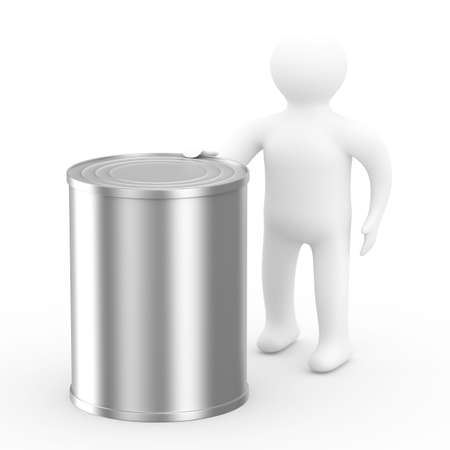 men hold can on white background. Isolated 3D image