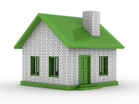 house rental: Small house on  white background. Isolated 3D image Stock Photo