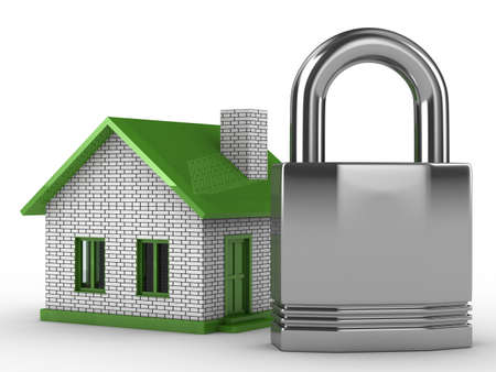 Real estate protection. Isolated 3D image on white Stock Photo - 5873359