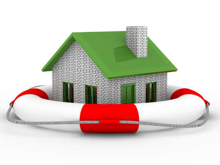 Real estate rescue. Isolated 3D image on white photo