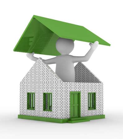 toiture maison: Maison de construction sur fond blanc. Image 3D isol�