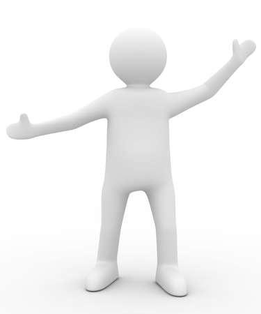 outstretched: person in greeting pose. Isolated 3D image