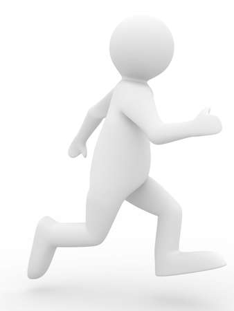 running person on white background. Isolated 3D image photo