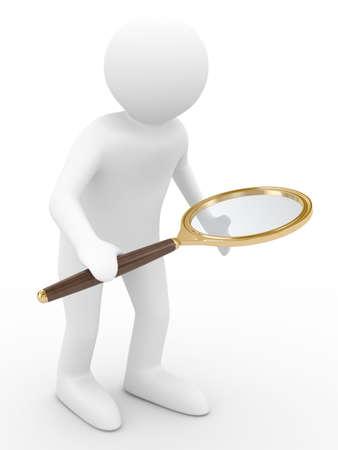 schoolkid search: Hombre con lupa sobre fondo blanco. Aislado de la imagen 3D Foto de archivo