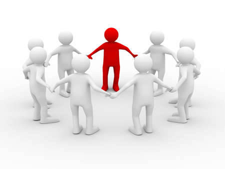 Conceptual image of teamwork. Isolated 3D on white Stock Photo - 5945590