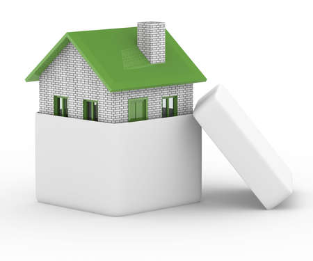 realestate: house in gift box. Isolated 3D image Stock Photo
