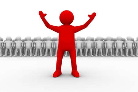 liderazgo empresarial: concepto de liderazgo sobre fondo blanco. Aislado de la imagen 3D