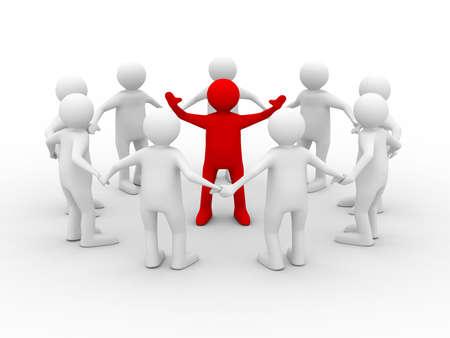 liderazgo: concepto de liderazgo sobre fondo blanco. Aislado de la imagen 3D