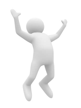 outstretched: jumping happy person on white background. Isolated 3D image Stock Photo