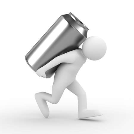 men carry can on back. Isolated 3D image photo