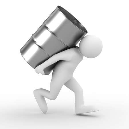 steel bucket: men carry vat on back. Isolated 3D image
