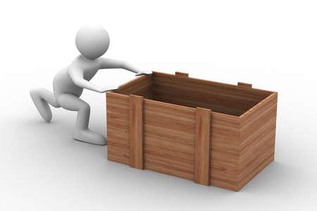 men push box on white background. Isolated 3D image Stock Photo - 6020144