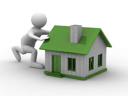 realestate: men push house on white background. Isolated 3D image