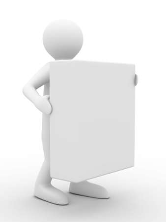 Men holds box on white background. Isolated 3D image photo