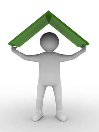 roof apartment: man under roof on white background. Isolated 3D image Stock Photo